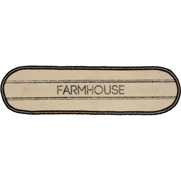VHC Sawyer Mill Charcoal Farmhouse Jute Runner 13X48 38030