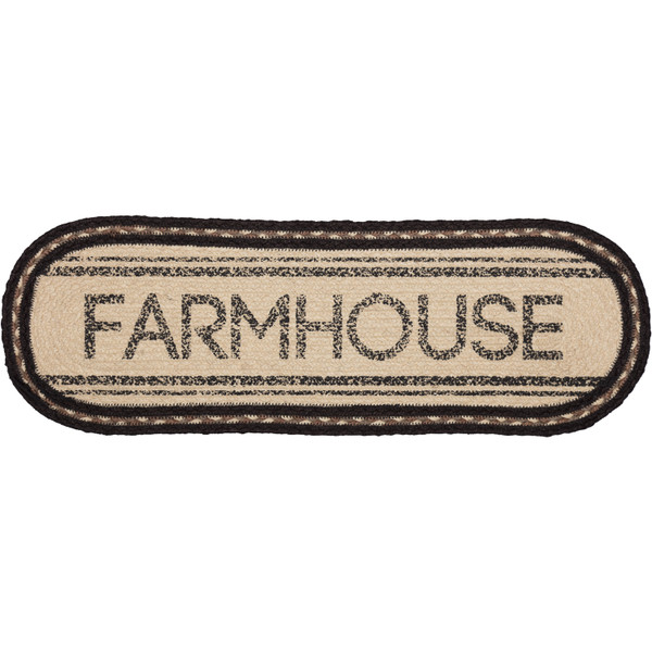 VHC Sawyer Mill Charcoal Farmhouse Jute Oval Runner 8X24 45735