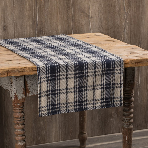 """Ragon 96"""" Antique White And Navy Plaid Runner (Pack Of 2) SS169835"""