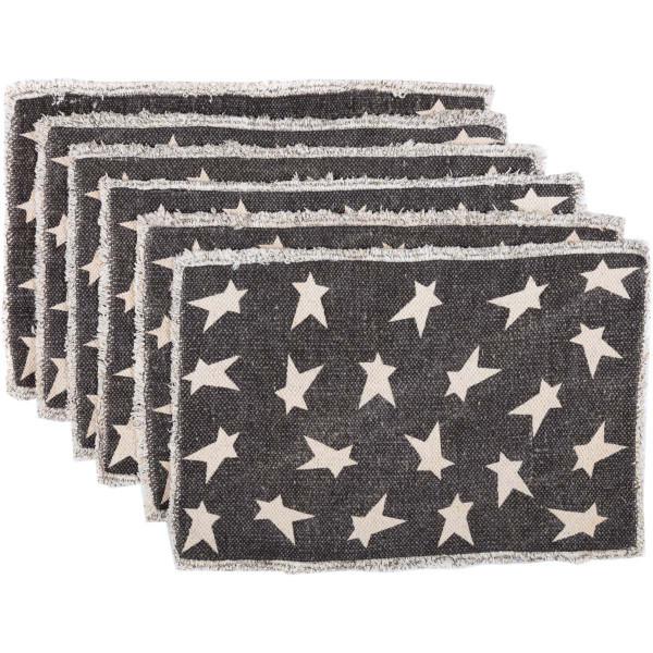 VHC Black Primitive Star Placemat Set Of 6 12X18 30640