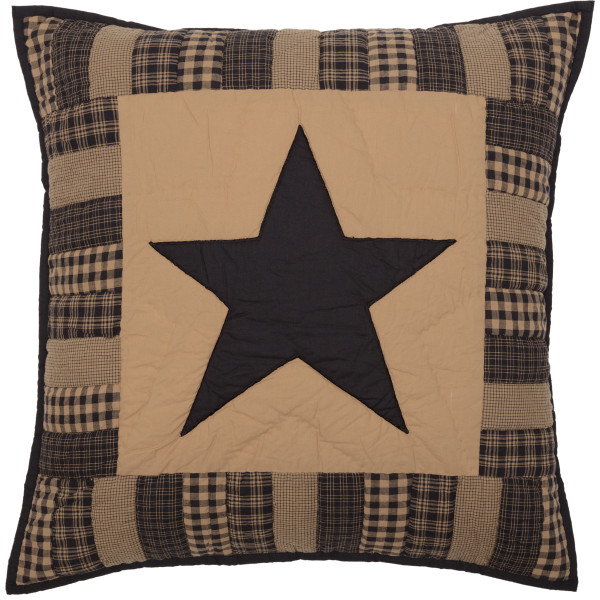 VHC Black Check Star Quilted Euro Sham 26X26 45778