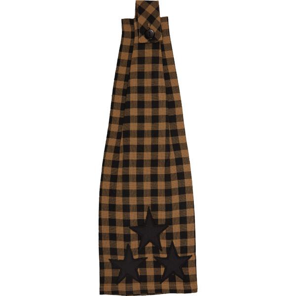 VHC Black Star Button Loop Kitchen Towel 20188
