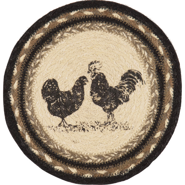 VHC Sawyer Mill Charcoal Poultry Jute Trivet 8 34273