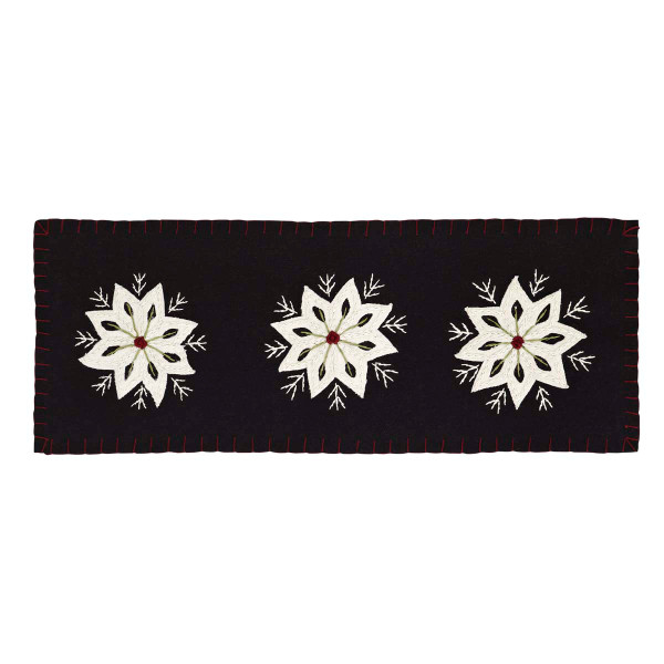 VHC Christmas Snowflake Runner Felt Embroidery 8X24 12090