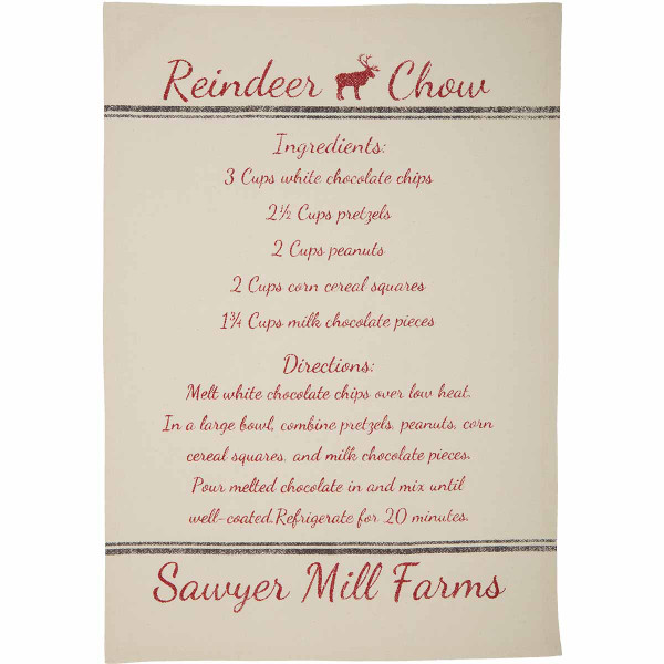 VHC Sawyer Mill Holiday Reindeer And Recipes Unbleached Natural Muslin Tea Towel Set Of 3 19X28 63466