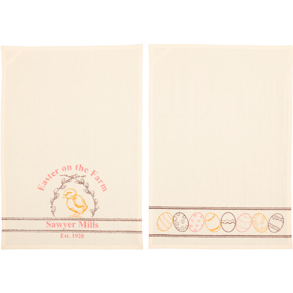 VHC Sawyer Mill Easter On The Farm Chick Unbleached Natural Muslin Tea Towel Set Of 2 19X28 63026