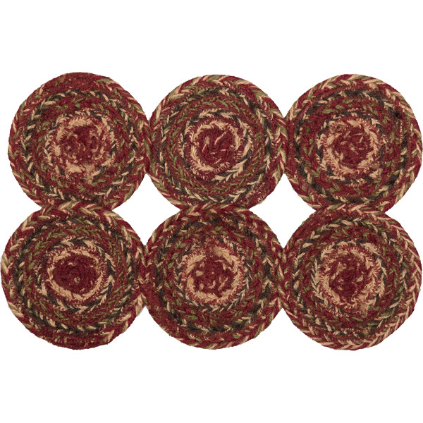 VHC Cider Mill Jute Coaster Set Of 6 45779