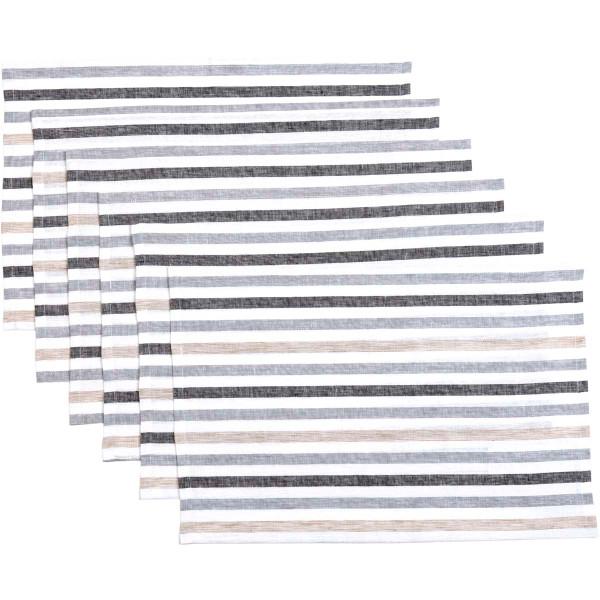 VHC Blake Grey Placemat Set Of 6 12X18 38632