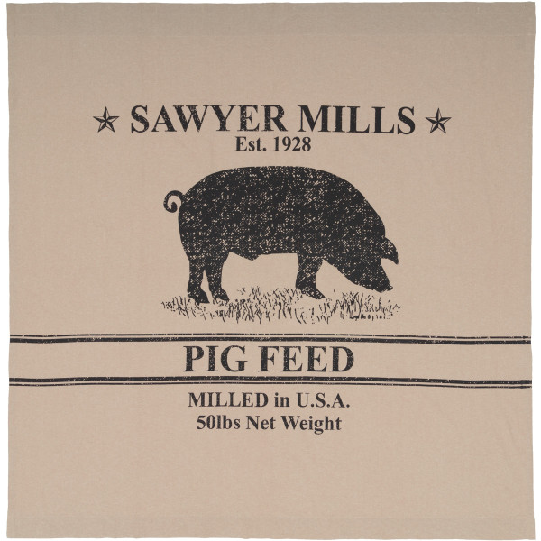 VHC Sawyer Mill Charcoal Pig Shower Curtain 72X72 45801