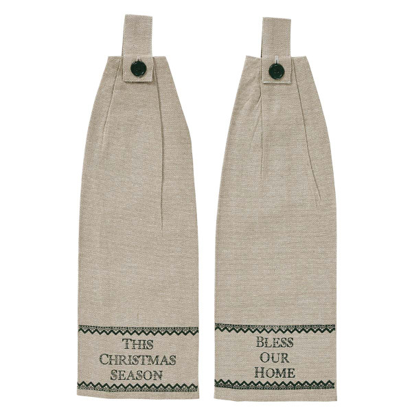 VHC Timberland Christmas Button Loop Kitchen Towel Set Of 2 21550