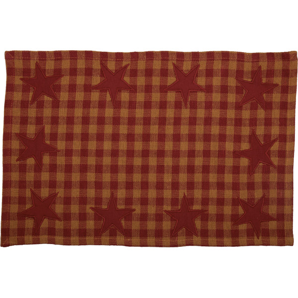 VHC Burgundy Star Placemat Set Of 6 12X18 30631