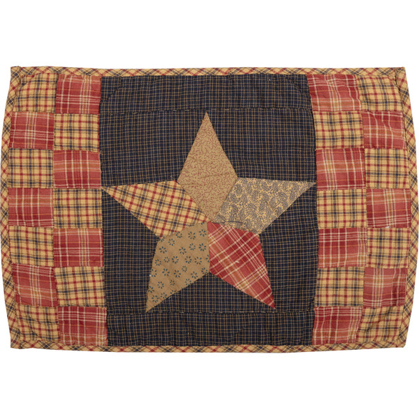 VHC Arlington Placemat Quilted Patchwork Star Set Of 6 12X18 30615