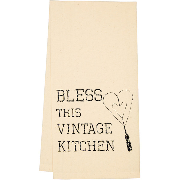 VHC Ashmont Vintage Utensil Muslin Unbleached Tea Towel Set Of 2 19X28 65278