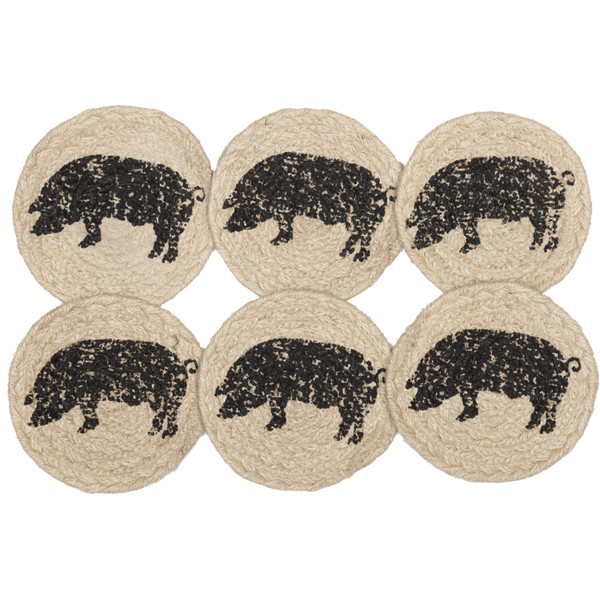 VHC Sawyer Mill Charcoal Pig Jute Coaster Set Of 6 45805
