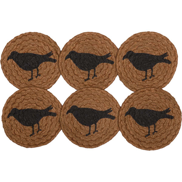 VHC Heritage Farms Crow Jute Coaster Set Of 6 45784