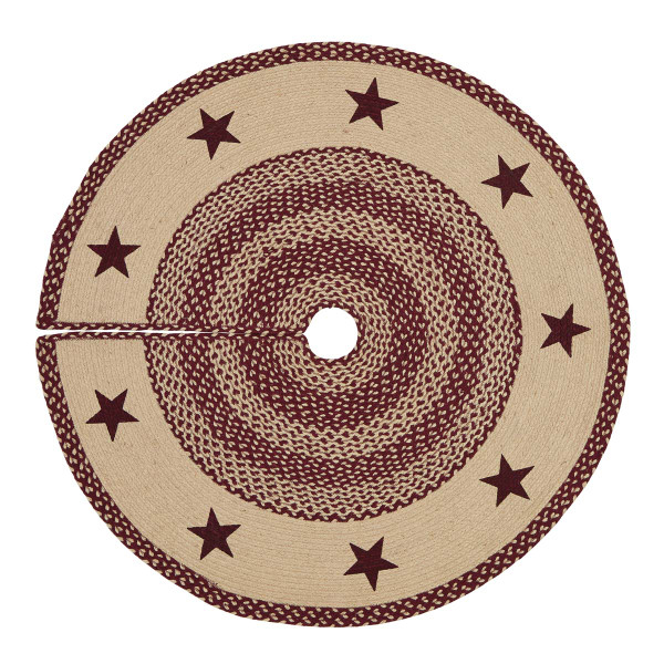VHC Burgundy Tan Jute Stencil Stars Tree Skirt 48 12050