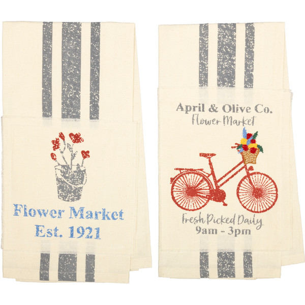 VHC Farmer'S Market Flower Market Unbleached Natural Muslin Tea Towel Set Of 2 (Flower Pot; Bicycle) 62987