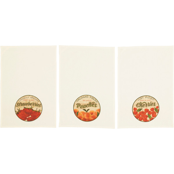VHC Farmer'S Market Fresh Fruit Unbleached Natural Muslin Tea Towel Set Of 3 (Cherry; Peach; Strawberry) 62993