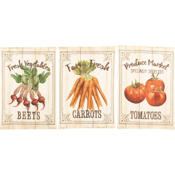 VHC Farmer'S Market Garden Veggie Unbleached Natural Muslin Tea Towel Set Of 3 (Beets; Carrots; Tomato) 62990