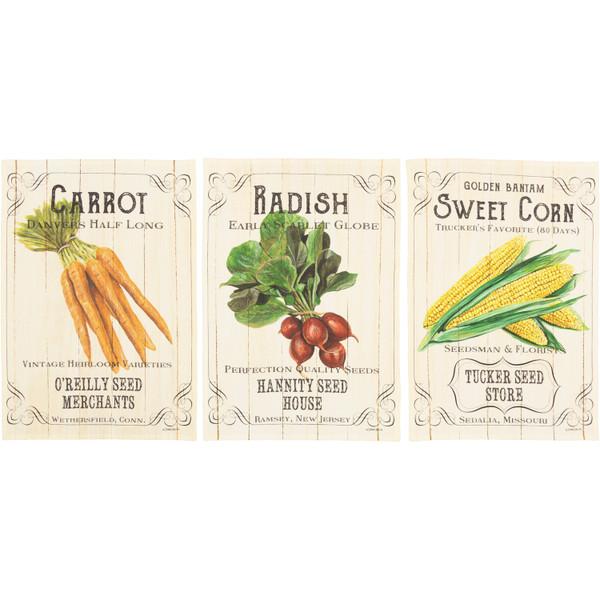 VHC Farmer'S Market Fresh Vegetable Unbleached Natural Muslin Tea Towel Set Of 3 (Carrot; Radish; Corn) 62992
