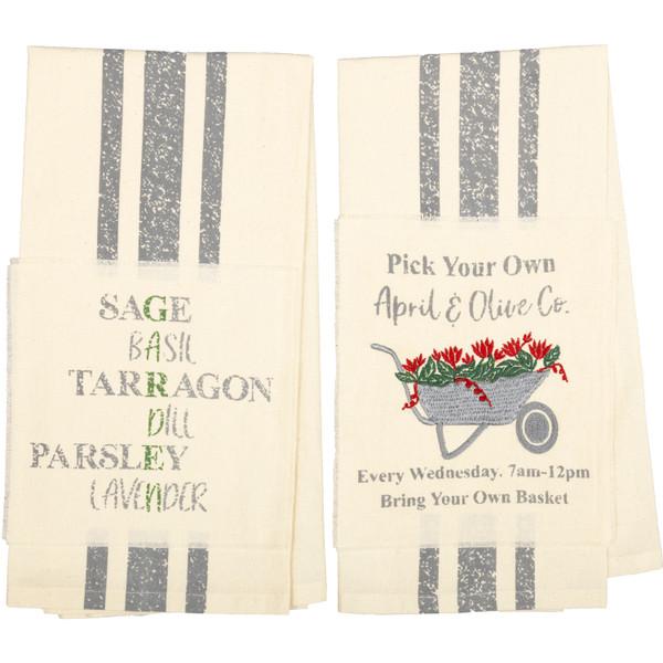VHC Farmer'S Market Garden Wheelbarrow Unbleached Natural Muslin Tea Towel Set Of 2 (Wheelbarrow; Herbs) 62988