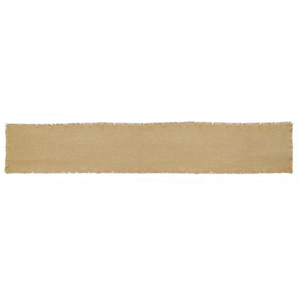 VHC Burlap Natural Runner Fringed 13X72 - 9552