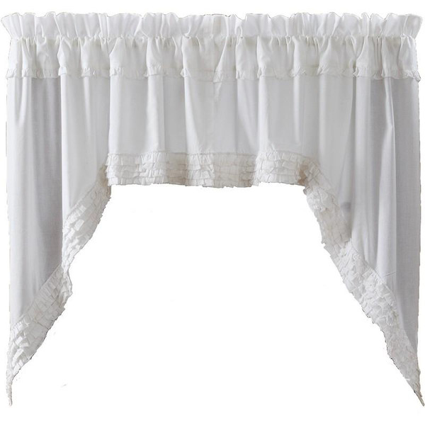VHC White Ruffled Sheer Swag Unlined (Set Of 2) 36X36X16 - 8609