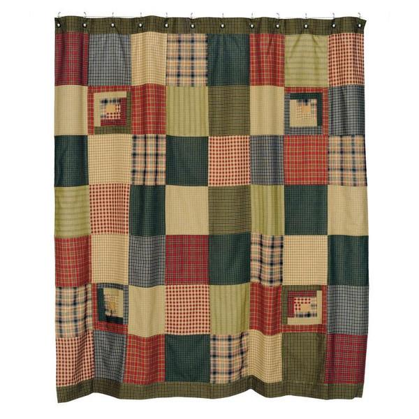 VHC Tea Cabin Shower Curtain Patchwork 72X72 - 8298