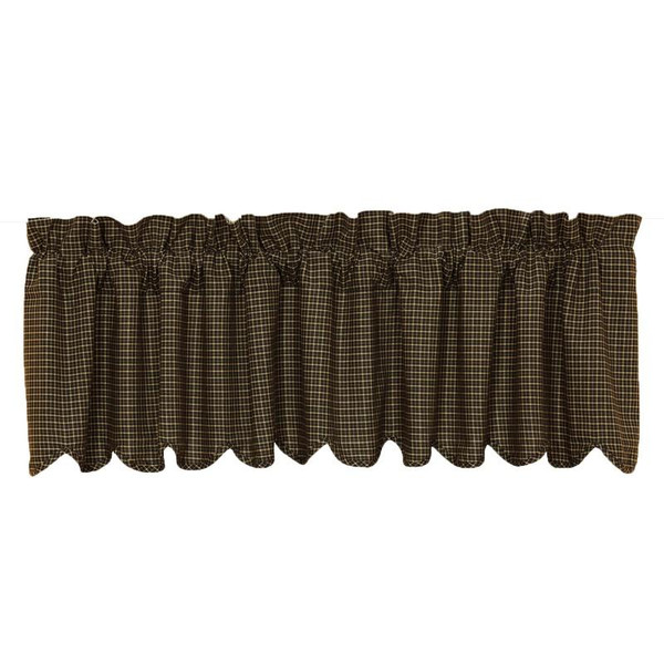 VHC Kettle Grove Plaid Valance Scalloped Lined16X72 - 7185