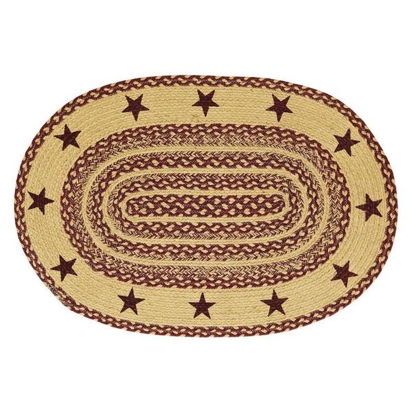 VHC Burgundy Tan Stencil Star Jute Oval Rug 24X36 - 6131