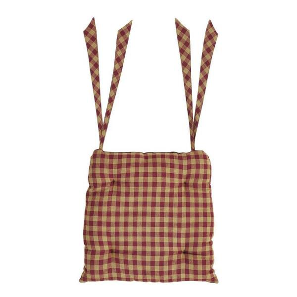 VHC Burgundy Check Chair Pad 15X15 - 6094