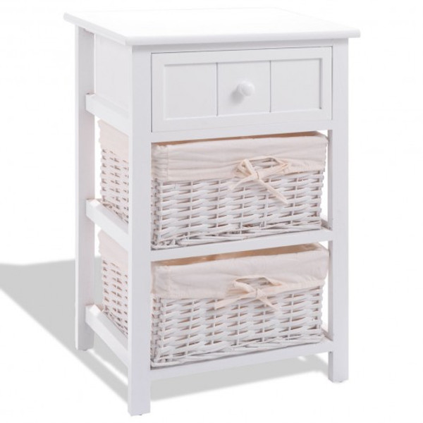 HW66087WH White Nightstand End Table With 2 Baskets