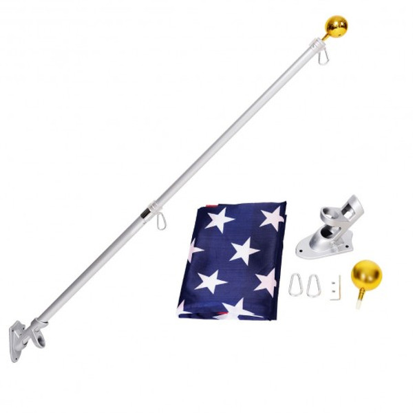 OP3584 5/6 Ft Telescoping Flagpole Spinning Wall Mount Usa Flag Kit-5'