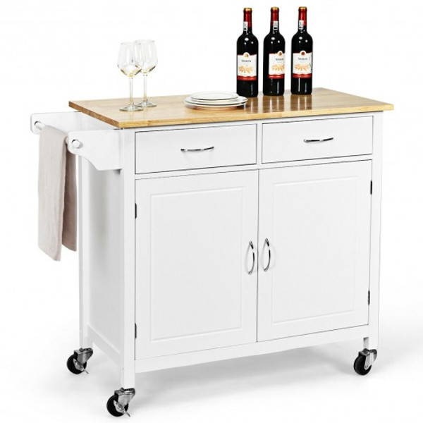 HW65684WH Modern Rolling Kitchen Cart Island With Wooden Top-White