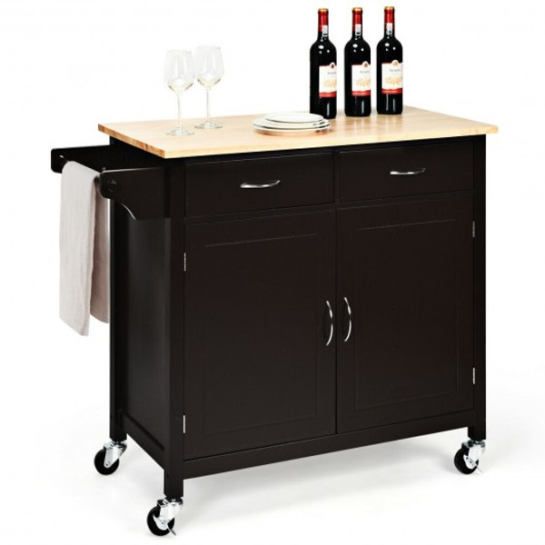 HW65684BN Modern Rolling Kitchen Cart Island With Wooden Top-Brown