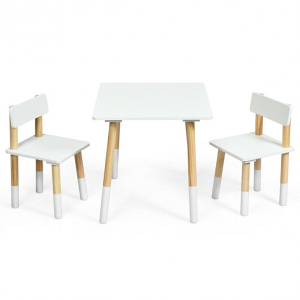 HW64427WH Kids Wooden Table & 2 Chairs Set-White