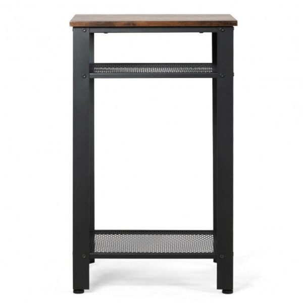 HW65665 3-Tier Industrial Tall Nightstand Side End Telephone Table