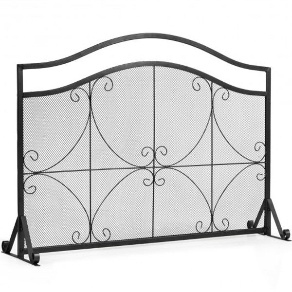 HW65641 Single Panel Fireplace Screen Free Standing Spark Guard Fence