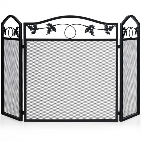HW65642 3 Panel Foldable Steel Fireplace Screen Spark Guard Fence
