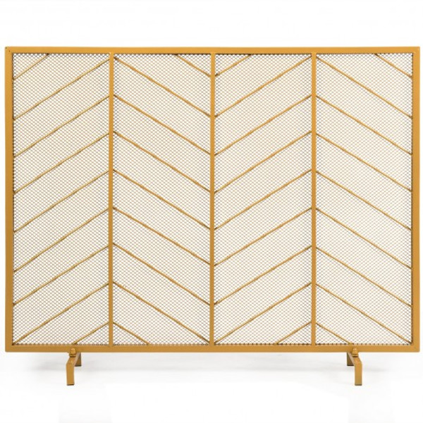 """HW65645 39""""X31"""" Single Panel Fireplace Screen Spark Guard Fence"""