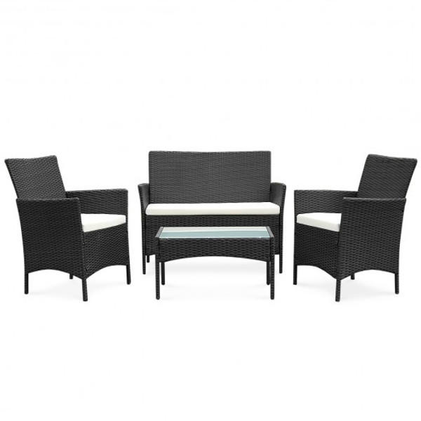 HW52188BK 4 Pcs Outdoor Patio Rattan Wicker Cushioned Sofa Table-Black