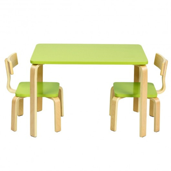 HW63872GN 3 Piece Kids Wooden Activity Table And 2 Chairs Set-Green