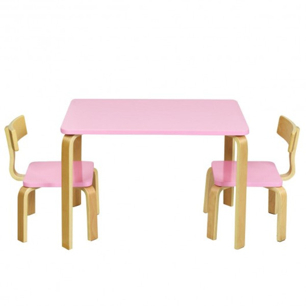 HW63872PI 3 Piece Kids Wooden Activity Table And 2 Chairs Set-Pink