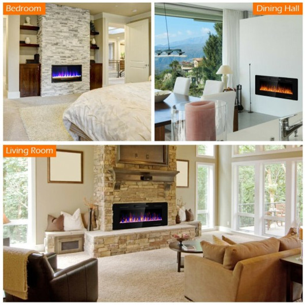 """EP24704 42"""" Recessed Ultra Thin Wall Mounted Electric Fireplace"""