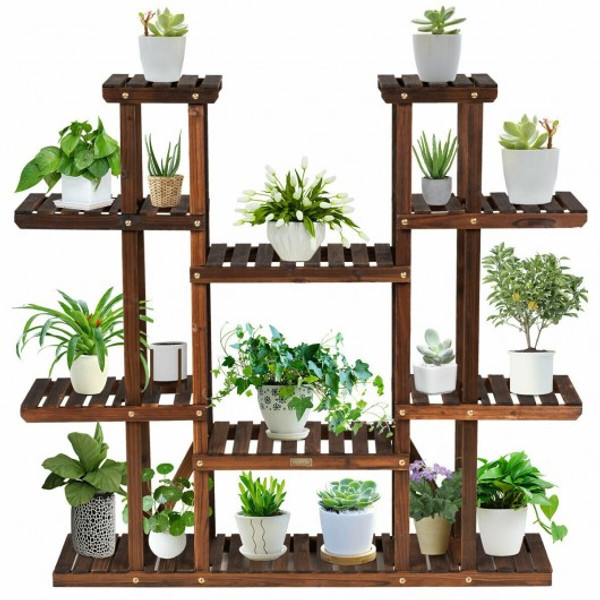 GT3517 6 Tier Wood Plant Stand Flower Shelf Rack Holder