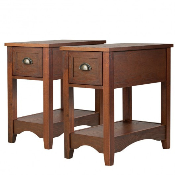 HW61983RE-2 Set Of 2 Contemporary Side End Table With Drawer -Walnut