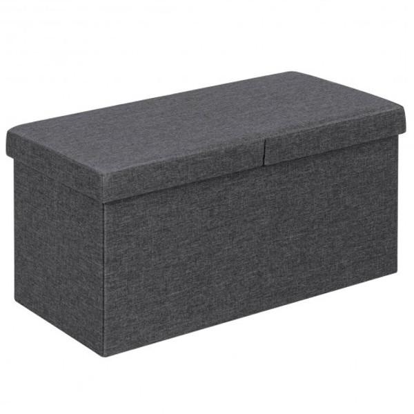 "HW65884GR 30"" Folding Storage Ottoman With Lift Top-Dark Gray"