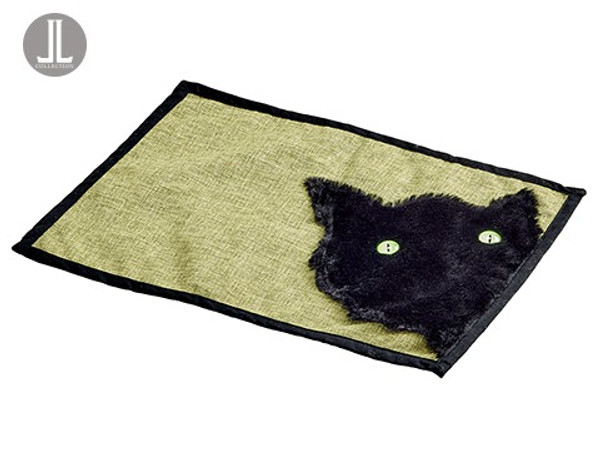 "14""W X 19""L Cat Placemat Black Green (Pack Of 6) AAG011-BK/GR By Silk Flower"