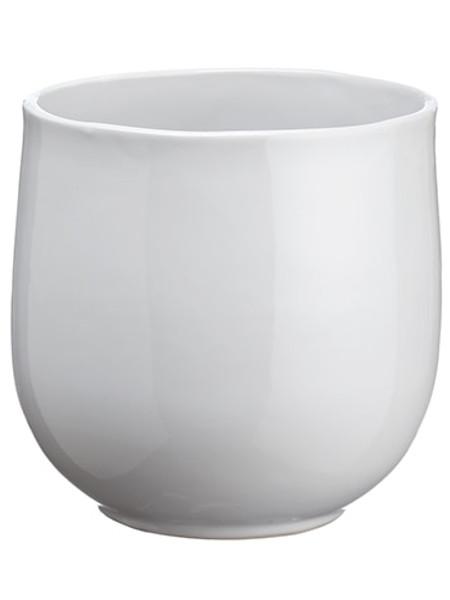 "6.3""H X 6.6""D Ceramic Vase White ACR460-WH By Silk Flower"