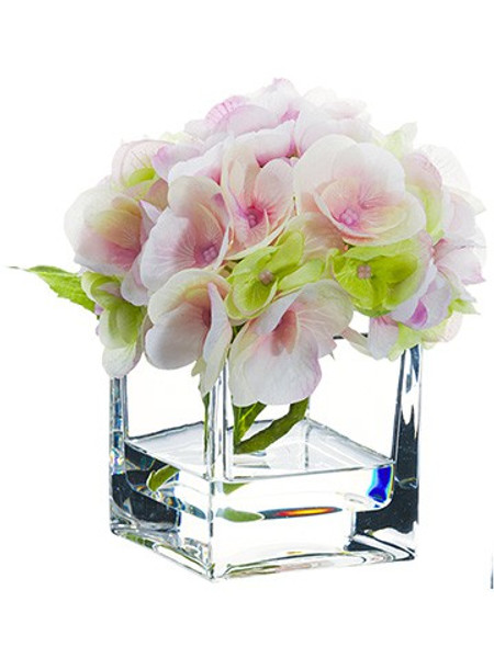 "5.5"" Hydrangea In Glass Vase Pink Green (Pack Of 4) LFH355-PK/GR By Silk Flower"